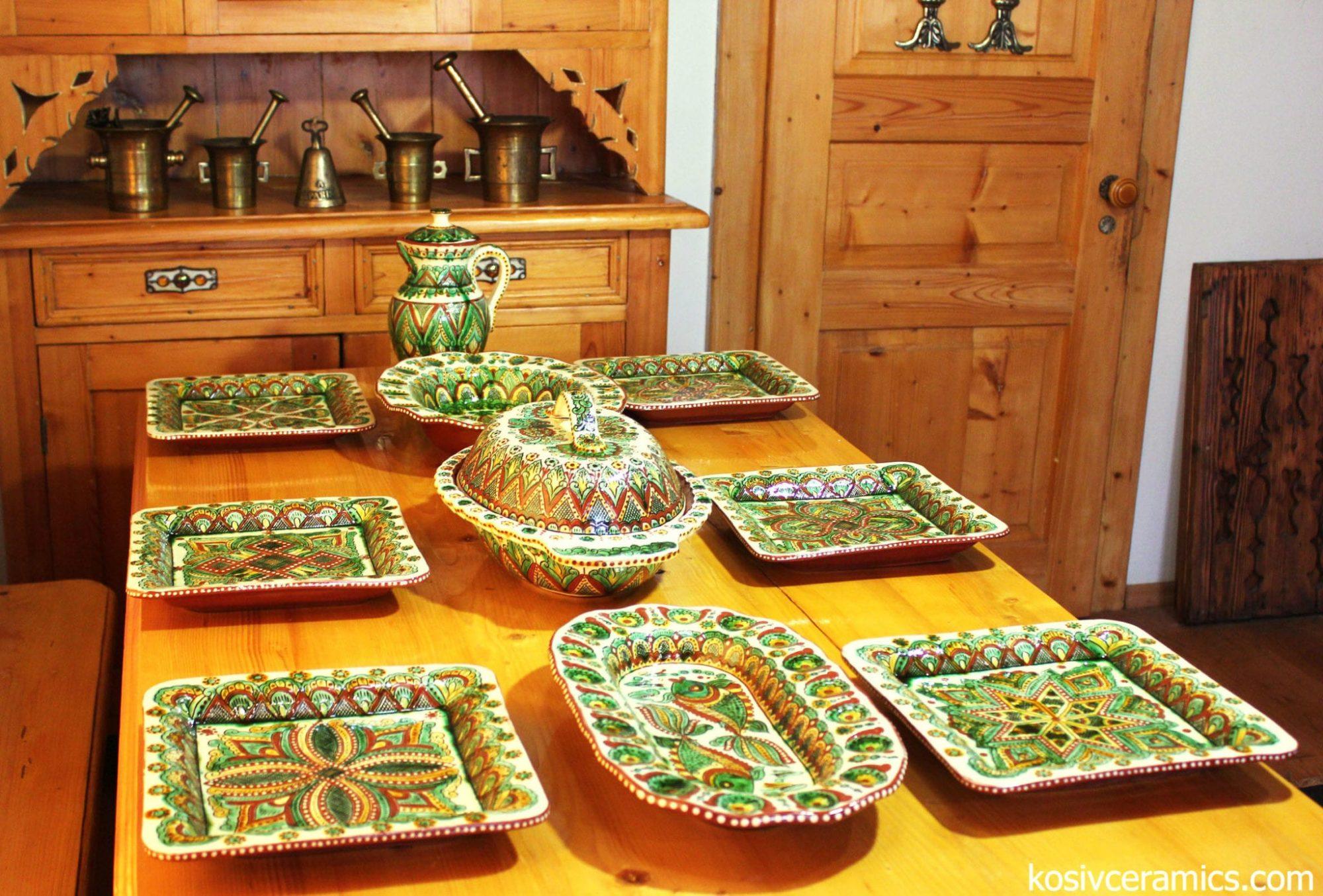сервіз на 6 персон, кераміка, ручна робота, кераміка ручної роботи, троць, косівська кераміка, гуцульська кераміка, кераміка троць, kosiv ceramics, sgraffito, ceramics